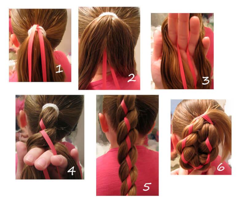 Уроки домашнего косоплетения - Коса с лентой из хвоста