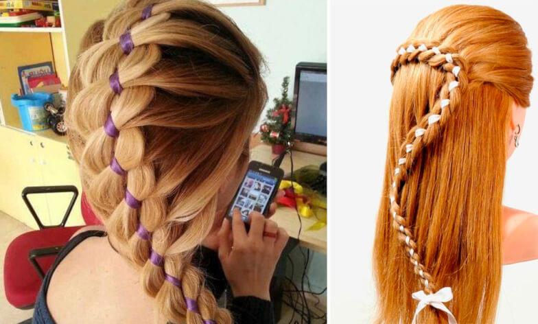 Уроки домашнего косоплетения - Французская коса с лентой из четырех прядей (две из них — лента)